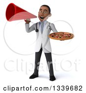Clipart Of A 3d Young Black Male Nutritionist Doctor Holding A Pizza And Announcing With A Megaphone Royalty Free Illustration