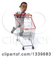 Clipart Of A 3d Young Black Male Doctor Struggling With A Shopping Cart Royalty Free Illustration