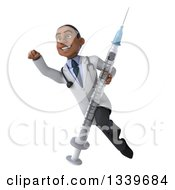 Clipart Of A 3d Young Black Male Doctor Holding A Vaccine Syringe And Flying Royalty Free Illustration