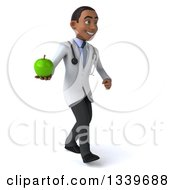 Clipart Of A 3d Young Black Male Nutritionist Doctor Holding A Green Apple And Walking To The Right Royalty Free Illustration