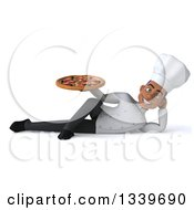 Clipart Of A 3d Young Black Male Chef Holding A Pizza And Resting On His Side Royalty Free Illustration