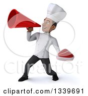 Clipart Of A 3d Young Black Male Chef Holding A Beef Steak And Announcing To The Left With A Megaphone Royalty Free Illustration