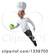 Clipart Of A 3d Young Black Male Chef Holding A Green Apple And Flying Royalty Free Illustration