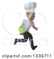 Clipart Of A 3d Young Black Male Chef Holding A Green Bell Pepper And Sprinting To The Right Royalty Free Illustration
