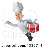 Clipart Of A 3d Young White Male Chef Holding A Gift And Flying Royalty Free Illustration