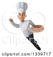 Clipart Of A 3d Young White Male Chef Holding A Pizza And Flying Royalty Free Illustration
