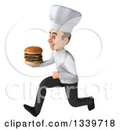 Clipart Of A 3d Young White Male Chef Holding A Double Cheeseburger And Sprinting To The Left Royalty Free Illustration