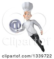 Clipart Of A 3d Young White Male Chef Holding An Email Arobase At Symbol And Flying Royalty Free Illustration