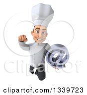 Clipart Of A 3d Young White Male Chef Holding An Email Arobase At Symbol And Flying 2 Royalty Free Illustration