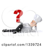 Clipart Of A 3d Young White Male Chef Holding A Question Mark And Resting On His Side Royalty Free Illustration