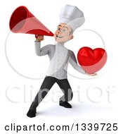 Clipart Of A 3d Young White Male Chef Holding A Love Heart And Announcing With A Megaphone Royalty Free Illustration