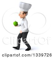 Clipart Of A 3d Young White Male Chef Holding A Green Apple And Walking To The Left Royalty Free Illustration