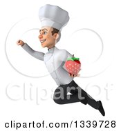 Clipart Of A 3d Young White Male Chef Holding A Strawberry And Flying To The Left Royalty Free Illustration