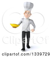 Clipart Of A 3d Young White Male Chef Holding A Banana And Walking Royalty Free Illustration