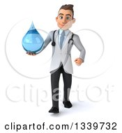 Clipart Of A 3d Young Brunette White Male Doctor Holding A Water Droplet And Walking Royalty Free Illustration