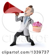 Clipart Of A 3d Young Brunette White Male Nutritionist Doctor Holding A Pink Frosted Cupcake And Announcing To The Left With A Megaphone Royalty Free Illustration