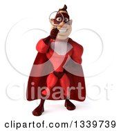 Clipart Of A 3d Buff White Male Super Hero In A Red Suit Searching With A Magnifying Glass Royalty Free Illustration by Julos