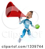 Clipart Of A 3d Young White Male Super Hero In A Light Blue Suit Holding A Green Apple And Announcing Upwards With A Megaphone Royalty Free Illustration