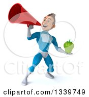 Clipart Of A 3d Young White Male Super Hero In A Light Blue Suit Holding A Green Bell Pepper And Announcing With A Megaphone Royalty Free Illustration