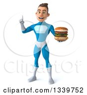 Clipart Of A 3d Young White Male Super Hero In A Light Blue Suit Holding Up A Finger And A Double Cheeseburger Royalty Free Illustration