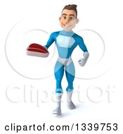 Clipart Of A 3d Young White Male Super Hero In A Light Blue Suit Holding A Beef Steak And Walking Royalty Free Illustration