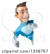 Clipart Of A 3d Young White Male Super Hero In A Light Blue Suit Holding A Vaccine Syringe And Looking Around A Sign Royalty Free Illustration