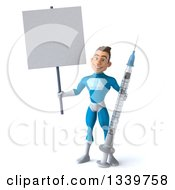 Clipart Of A 3d Young White Male Super Hero In A Light Blue Suit Holding A Giant Vaccine Syringe And Blank Sign Royalty Free Illustration