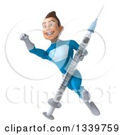 Clipart Of A 3d Young White Male Super Hero In A Light Blue Suit Flying With A Vaccine Syringe 2 Royalty Free Illustration