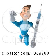 Clipart Of A 3d Young White Male Super Hero In A Light Blue Suit Flying With A Vaccine Syringe Royalty Free Illustration