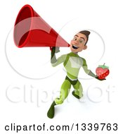 Clipart Of A 3d Young White Male Super Hero In A Green Suit Holding A Strawberry And Announcing Upwards With A Megaphone Royalty Free Illustration