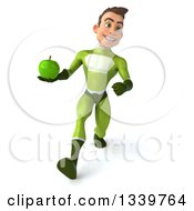 Clipart Of A 3d Young White Male Super Hero In A Green Suit Holding A Apple And Speed Walking Royalty Free Illustration