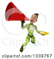 Clipart Of A 3d Young White Male Super Hero In A Green Suit Holding A Banana And Announcing Upwards With A Megaphone Royalty Free Illustration