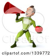Clipart Of A 3d Young White Male Super Hero In A Green Suit Holding A Tomato And Announcing To The Left With A Megaphone Royalty Free Illustration