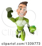 Clipart Of A 3d Young White Male Super Hero In A Green Suit Holding A Bell Pepper And Flying Royalty Free Illustration