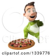 Clipart Of A 3d Young White Male Super Hero In A Green Suit Holding A Pizza Around A Sign Royalty Free Illustration