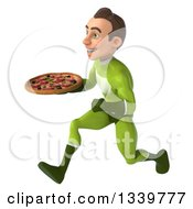 Clipart Of A 3d Young White Male Super Hero In A Green Suit Holding A Pizza And Sprinting To The Left Royalty Free Illustration