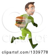 Clipart Of A 3d Young White Male Super Hero In A Green Suit Holding A Double Cheeseburger And Sprinting To The Right Royalty Free Illustration