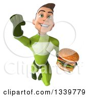 Clipart Of A 3d Young White Male Super Hero In A Green Suit Holding A Double Cheeseburger And Flying Royalty Free Illustration