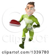 Clipart Of A 3d Young White Male Super Hero In A Green Suit Holding A Beef Steak And Sprinting Royalty Free Illustration
