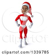 Clipart Of A 3d Young Black Male Christmas Super Hero Santa Walking Royalty Free Illustration by Julos