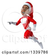 Clipart Of A 3d Young Black Male Christmas Super Hero Santa Pointing To The Left And Flying Royalty Free Illustration by Julos