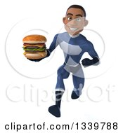 Clipart Of A 3d Young Black Male Super Hero Dark Blue Suit Holding A Double Cheeseburger And Sprinting Royalty Free Illustration