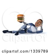 Clipart Of A 3d Young Black Male Super Hero Dark Blue Suit Holding A Double Cheeseburger And Resting On His Side Royalty Free Illustration
