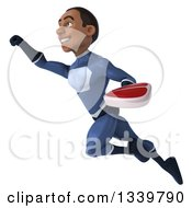 Clipart Of A 3d Young Black Male Super Hero Dark Blue Suit Holding A Beef Steak And Flying Up To The Left Royalty Free Illustration