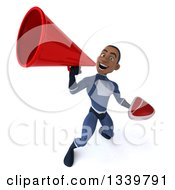 Clipart Of A 3d Young Black Male Super Hero Dark Blue Suit Holding A Beef Steak And Announcing Upwards With A Megaphone Royalty Free Illustration