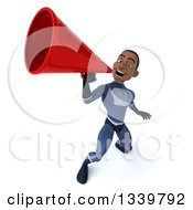 Clipart Of A 3d Young Black Male Super Hero Dark Blue Suit Announcing Upwards With A Megaphone Royalty Free Illustration