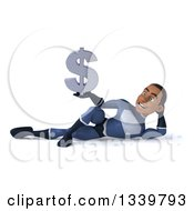 Clipart Of A 3d Young Black Male Super Hero Dark Blue Suit Holding A Dollar Currency Symbol And Resting On His Side Royalty Free Illustration