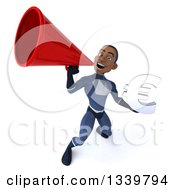 Clipart Of A 3d Young Black Male Super Hero Dark Blue Suit Holding A Euro Currency Symbol And Announcing Upwards With A Megaphone Royalty Free Illustration