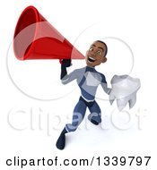 Clipart Of A 3d Young Black Male Super Hero Dark Blue Suit Holding A Tooth And Announcing Upwards With A Megaphone Royalty Free Illustration