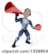 Clipart Of A 3d Young Black Male Super Hero Dark Blue Suit Holding A Tomato And Announcing Upwards To The Megaphone Royalty Free Illustration